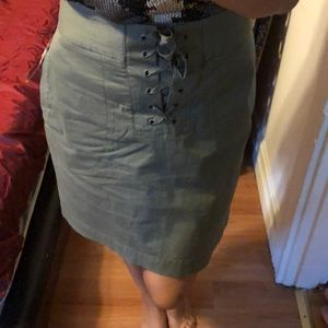 French connection olive green skirt XL
